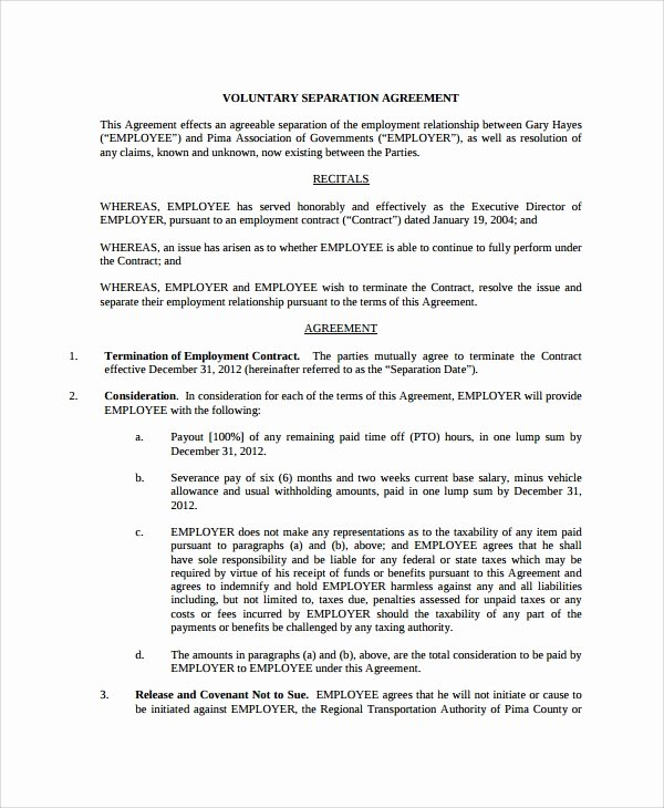 Employee Separation form Template Best Of Sample Employment Separation Agreement 11 Free