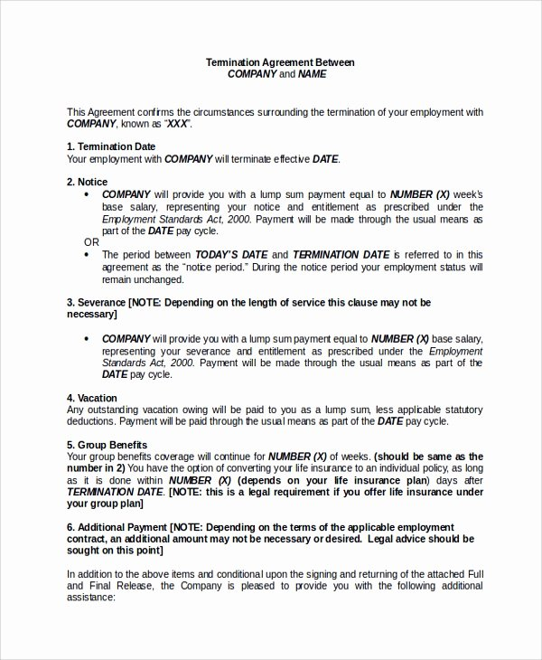 Employee Separation form Template Elegant Sample Employment Separation Agreement 8 Documents In