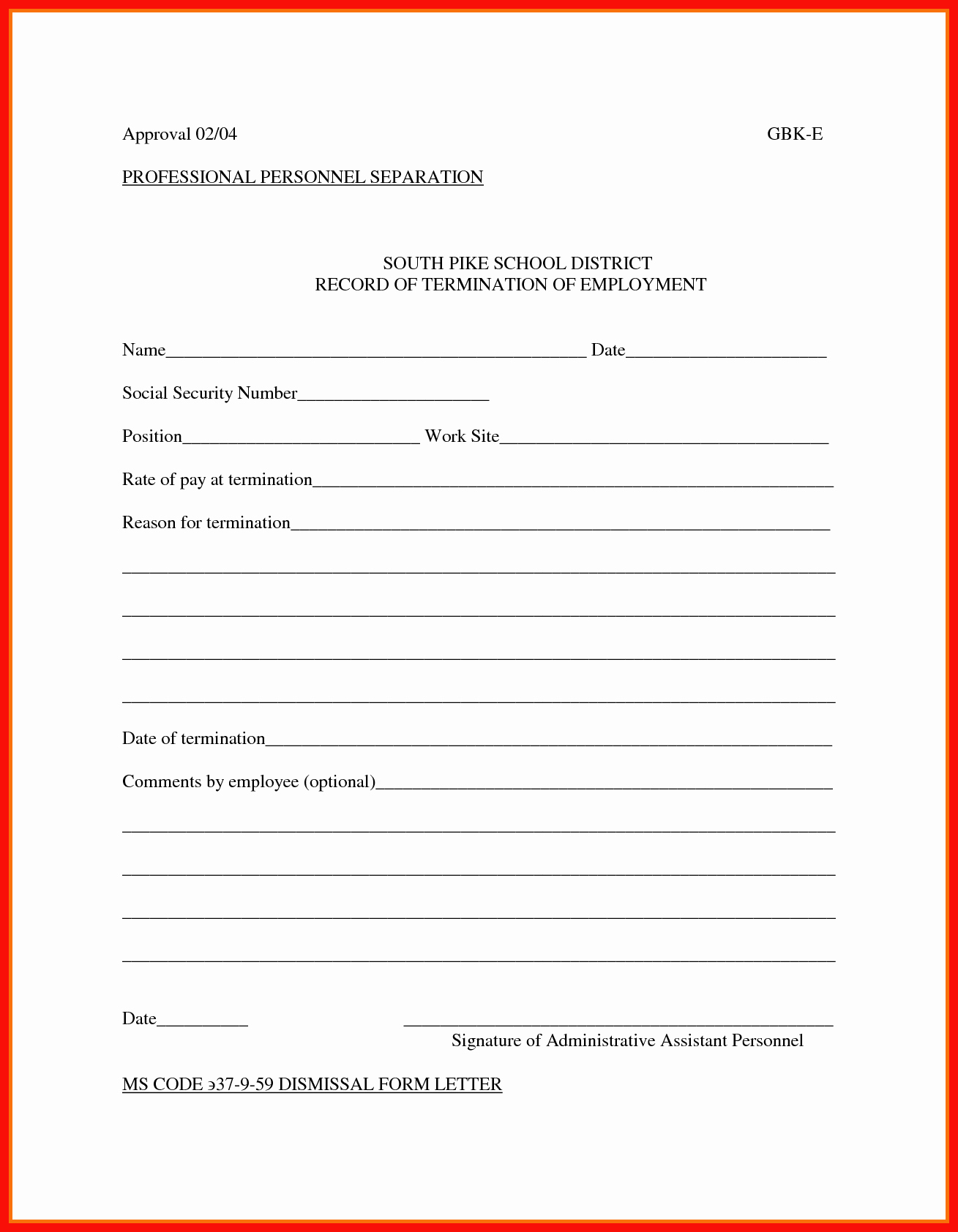 Employee Separation form Template Fresh Separation Notice Sample