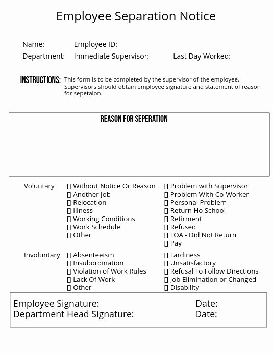 Employee Separation form Template Inspirational Employee Separation Notice Template