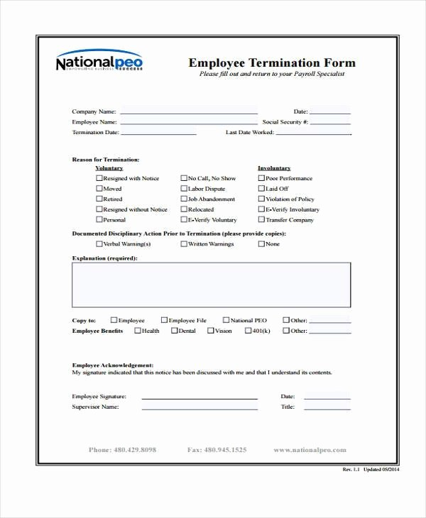 Employee Separation form Template Luxury Free 49 Employment form Templates