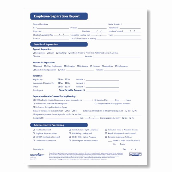 Employee Separation form Template Luxury Hr & Personnel forms