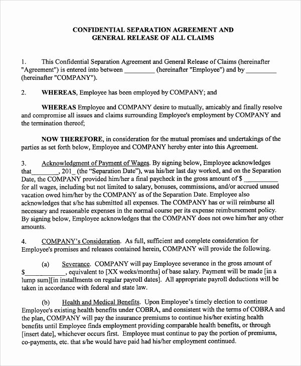 Employee Separation form Template Luxury Sample Employment Separation Agreement 8 Documents In