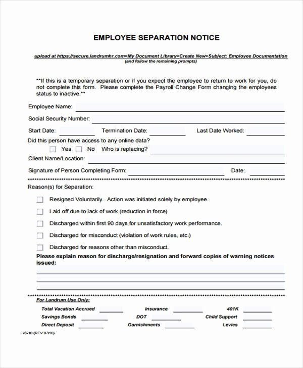 Employee Separation form Template New Free 49 Employment form Templates