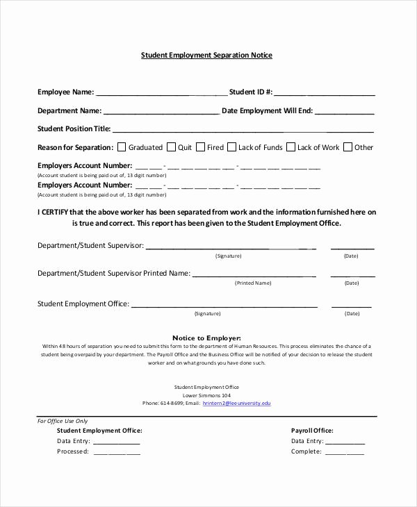 Employee Separation form Template Unique 14 Separation Notice Templates Google Docs Ms Word