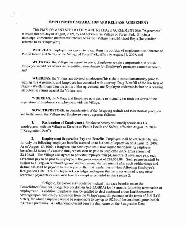 employment release agreement