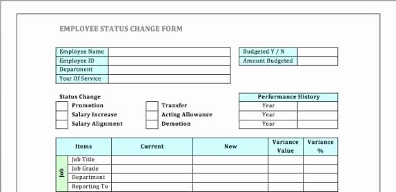 Employee Status Change form Template Awesome Employee Status Change forms Find Word Templates
