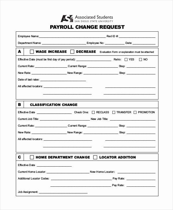 Employee Status Change form Template Beautiful Free 10 Sample Payroll Change forms