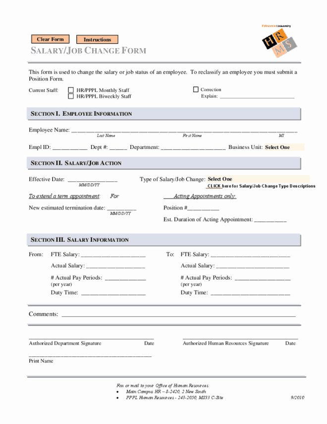 Employee Status Change form Template Best Of 6 Employee Status Change forms Word Excel Templates