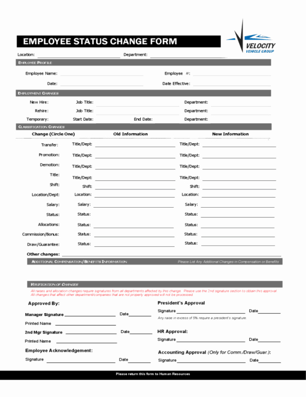 Employee Status Change form Template Elegant Employee Status Change forms Word Excel Samples