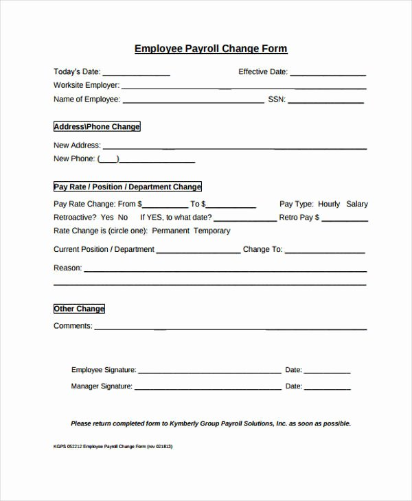 Employee Status Change form Template Elegant Free 33 Change form Templates