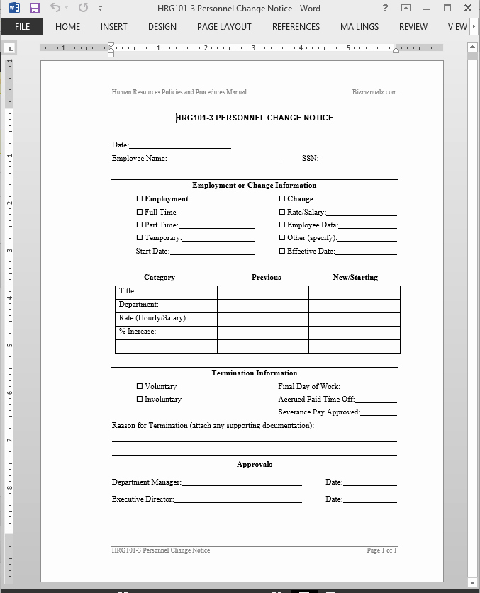 Employee Status Change form Template Fresh Personnel Change Notice Template