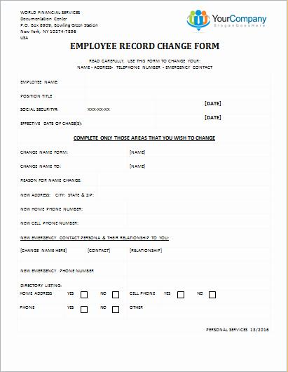 Employee Status Change form Template Luxury Employee Record Change form Editable Printable Word