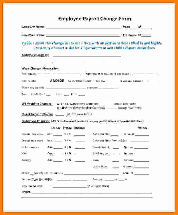 Employee Status Change form Template New 6 Payroll Change form Template Free