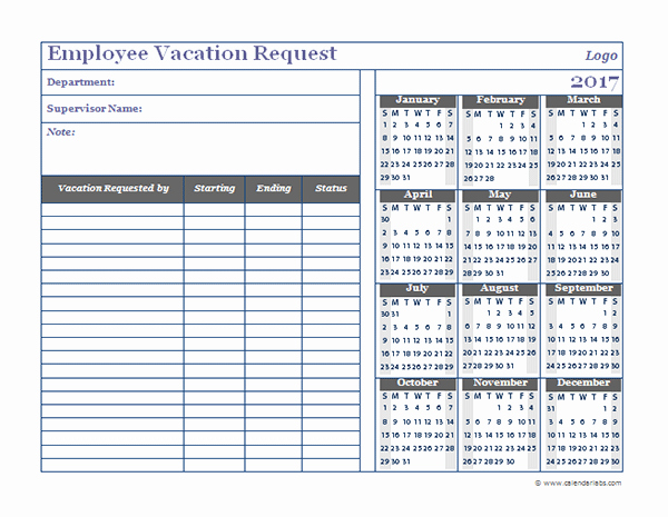 Employee Vacation Planner Template Excel Awesome 2017 Business Employee Vacation Request Free Printable