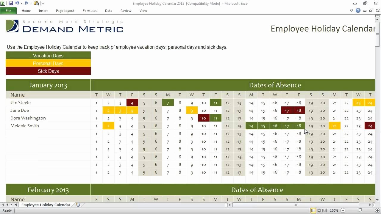 Employee Vacation Planner Template Excel Beautiful Employee Holiday Calendar Template 2013