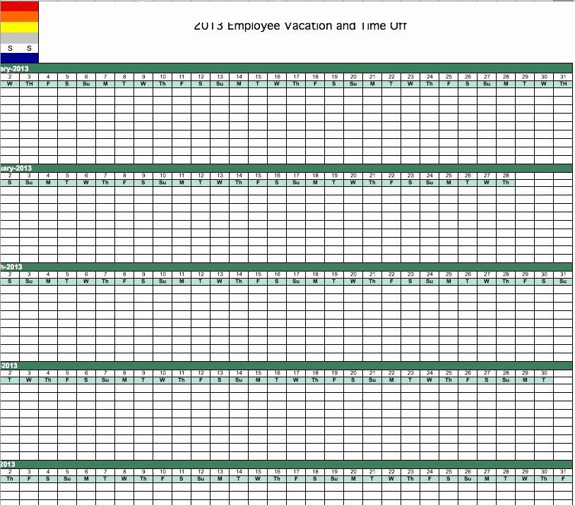 Employee Vacation Planner Template Excel Best Of 2013 Employee Vacation Tracking Calendar Template