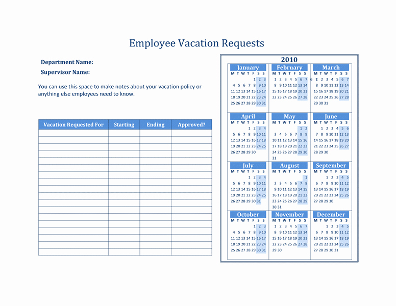 Employee Vacation Planner Template Excel Lovely 2014 Employee Vacation Tracking Calendar Template Excel