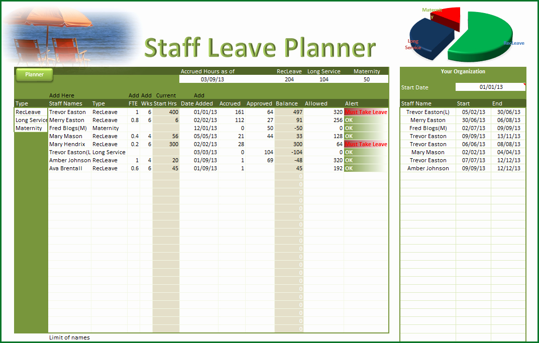 Employee Vacation Planner Template Excel Lovely Employee Vacation Planner Template Excel