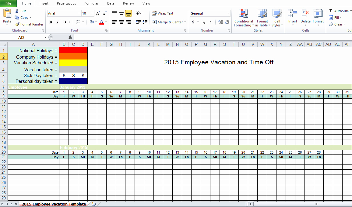 Employee Vacation Planner Template Excel Luxury Employee Vacation Tracking Excel Template 2015 Excel Tmp