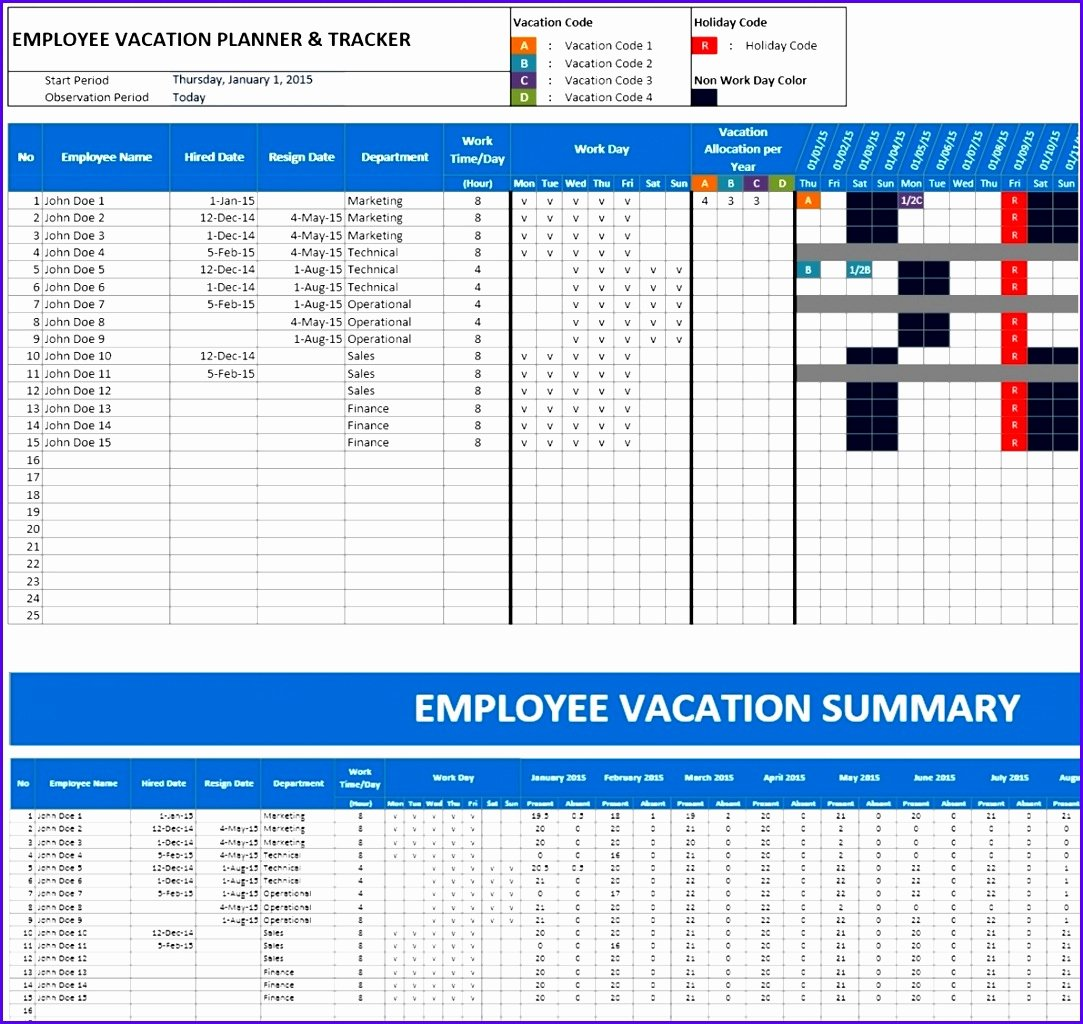 Employee Vacation Planner Template Excel New 6 Excel Holiday Planner Template Exceltemplates