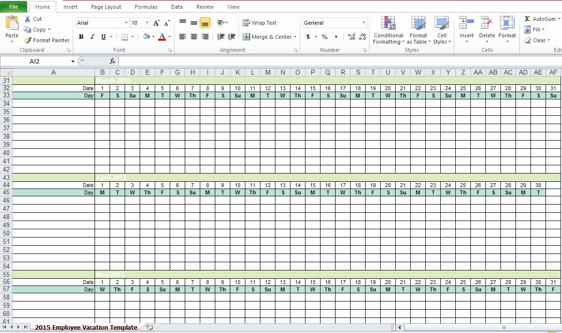 Employee Vacation Planner Template Excel New Employee Vacation Tracking Excel Template 2015 Excel Tmp