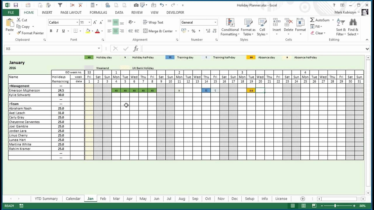 Employee Vacation Planner Template Excel Unique Any Year Holiday Training & Absence Planner for Excel