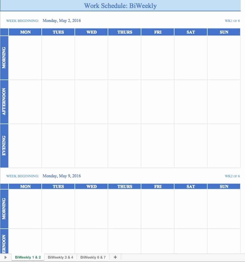 Employee Weekly Work Schedule Template Elegant Free Work Schedule Templates for Word and Excel