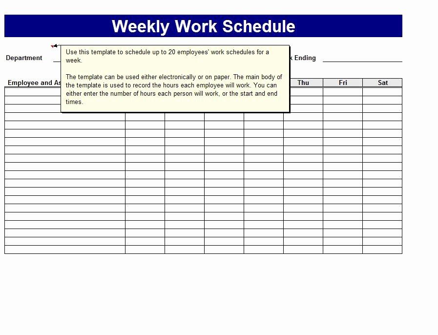 Employee Weekly Work Schedule Template Inspirational Weekly Work Schedule Template