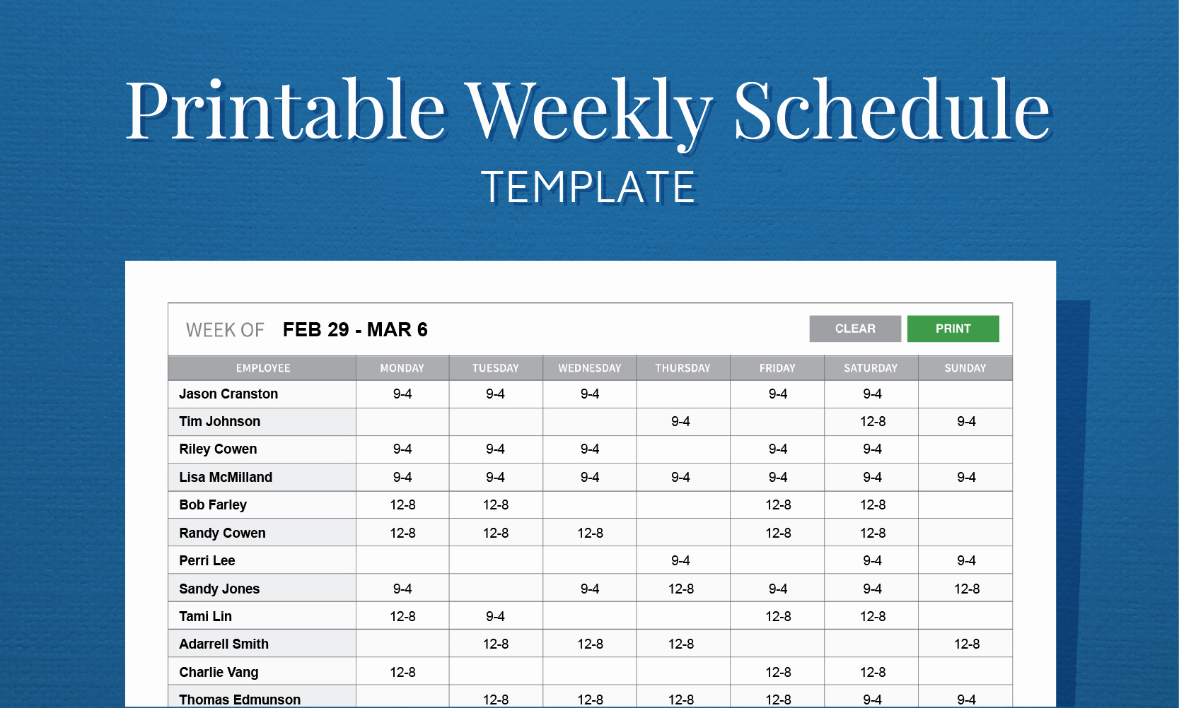 Employee Weekly Work Schedule Template Lovely Free Printable Work Schedule Template for Employee