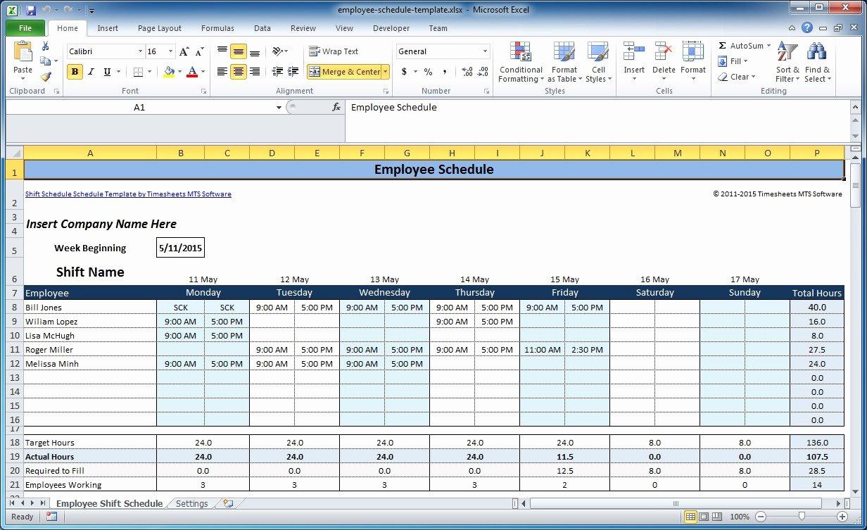 Employee Weekly Work Schedule Template New Free Employee and Shift Schedule Templates