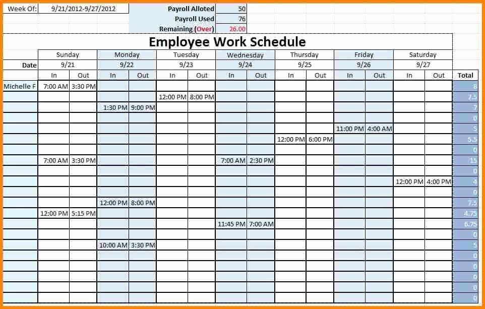 Employee Weekly Work Schedule Template New Monthly Employee Schedule Template Excel