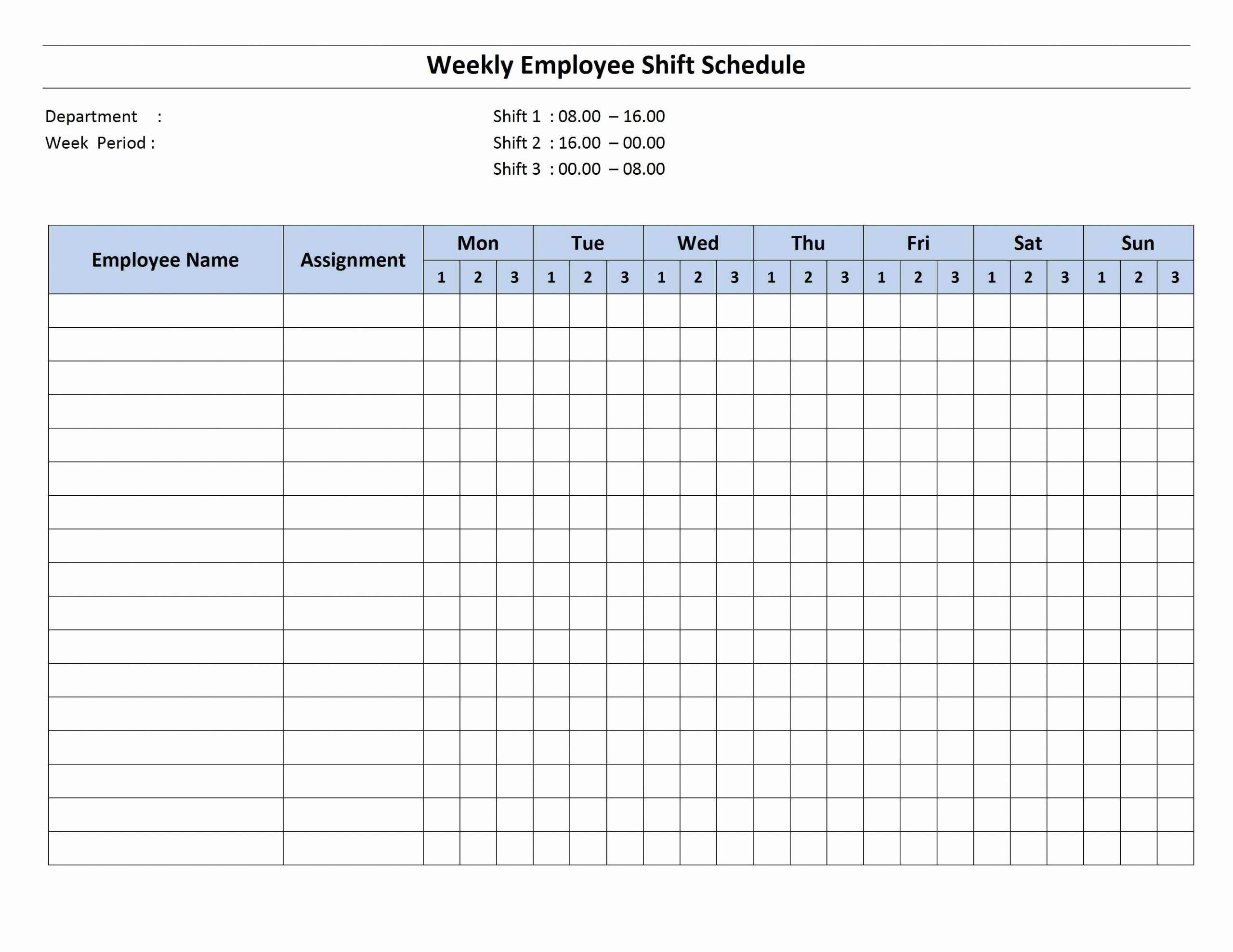 Employee Weekly Work Schedule Template Unique Free Monthly Work Schedule Template