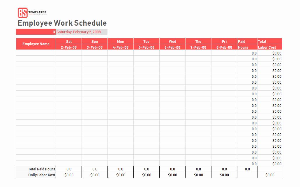 Employee Weekly Work Schedule Template Unique Work Schedule Template Daily Weekly