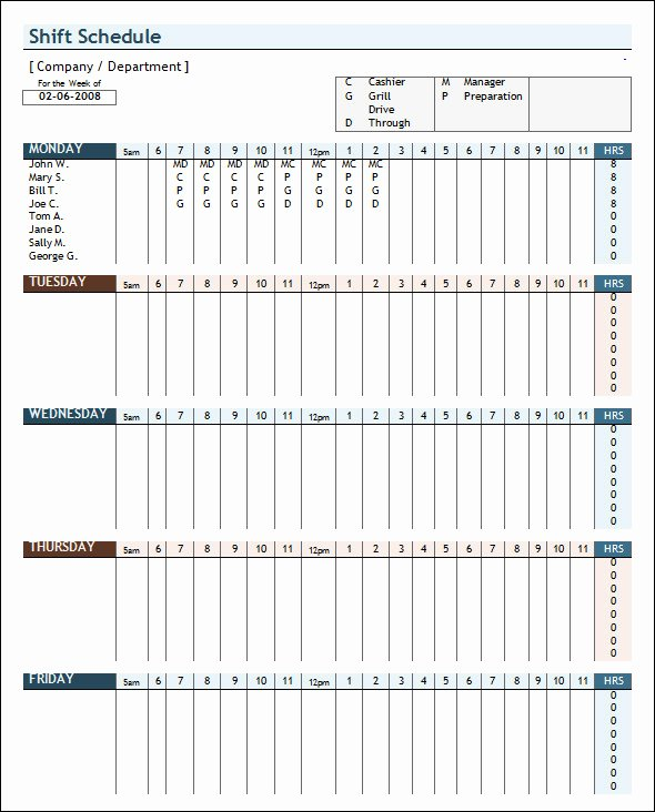 Employee Work Schedule Template Pdf Awesome Weekly Schedule Template 9 Download Free Documents In