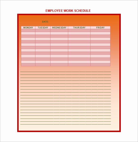 Employee Work Schedule Template Pdf Beautiful Employee Work Schedule Template 17 Free Word Excel