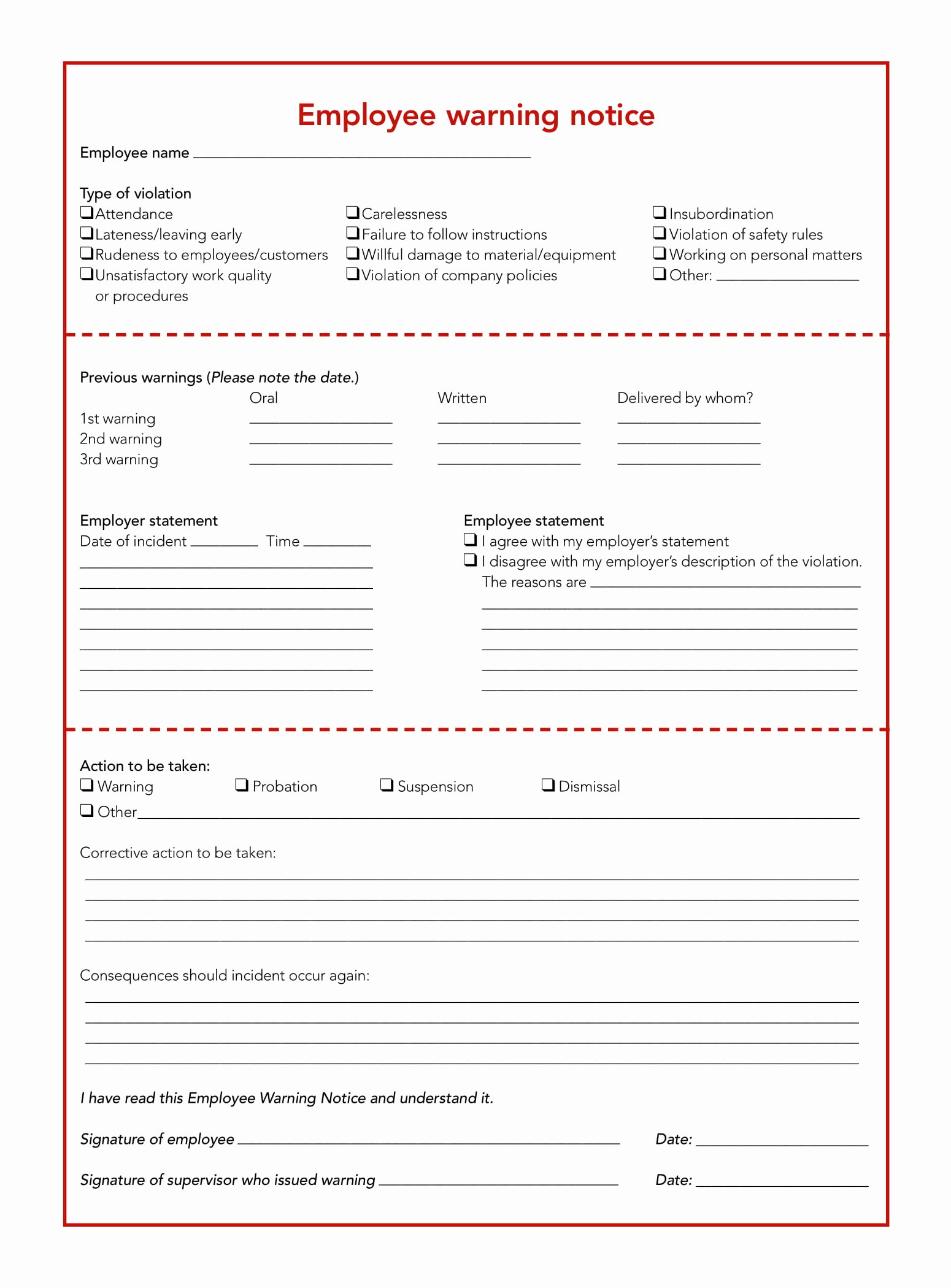 Employee Write Up forms Template Best Of 23 Employee Write Up form Free Download [word Pdf]