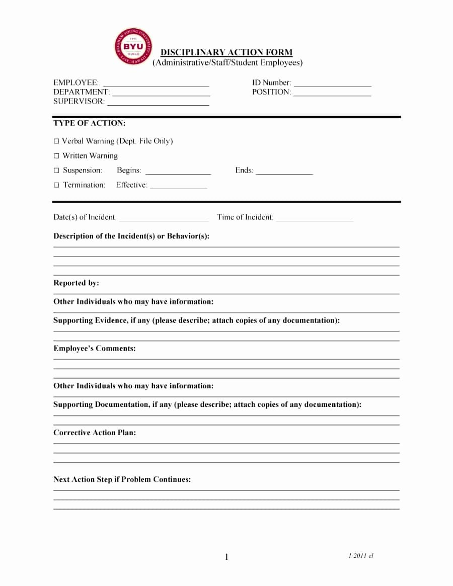 Employee Write Up forms Template Lovely 46 Effective Employee Write Up forms [ Disciplinary
