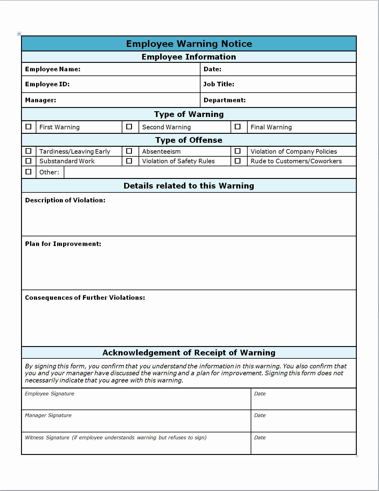 Employee Write Up forms Template Lovely Employee Warning Write Up Invitation Templates