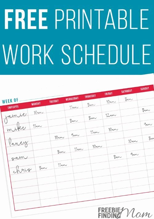 Employees Schedule Template Free Awesome Free Printable Work Schedule