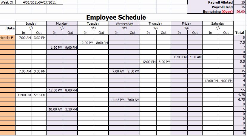 Employees Schedule Template Free Elegant 15 Free Employee Work Schedule Templates Schedule Templates