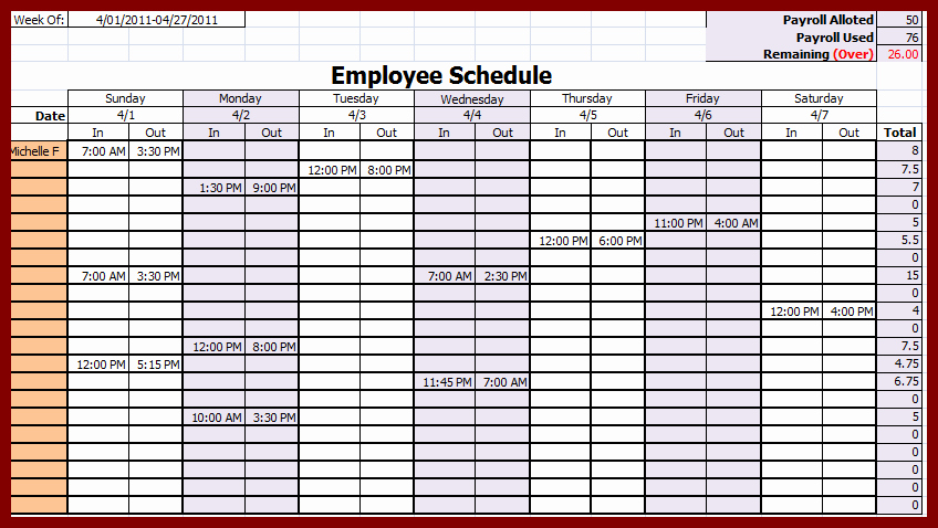 Employees Schedule Template Free Elegant Weekly Employee Schedule Template