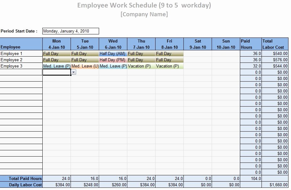 Employees Schedule Template Free Elegant Work Schedule Template