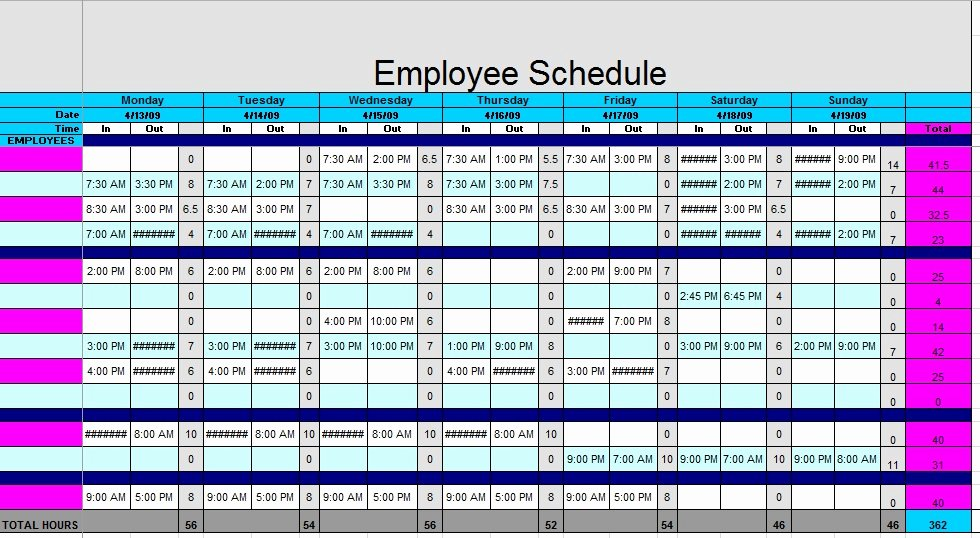 Employees Schedule Template Free Fresh 12 Free Sample Staff Schedule Templates Printable Samples