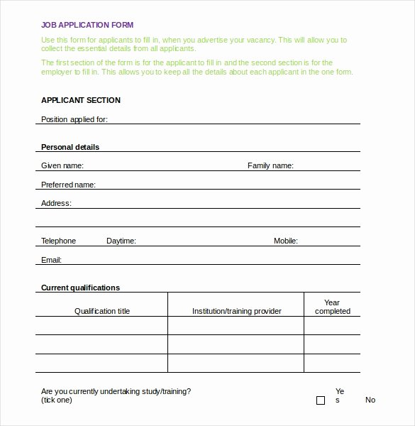 Employment Application form Template Elegant 15 Application Templates Free Sample Example format