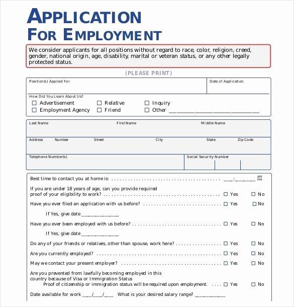 Employment Application form Template Fresh Employment Application Template