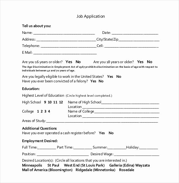 Employment Application form Template Inspirational 21 Employment Application Templates Pdf Doc
