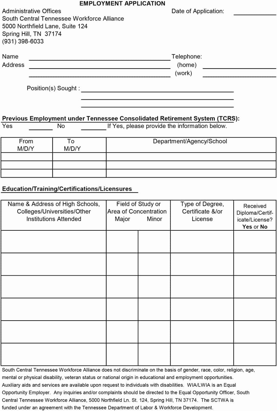 Employment Application form Template Lovely 50 Free Employment Job Application form Templates