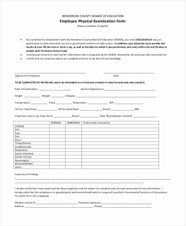 Employment Physical form Template Beautiful Free 11 Sample Physical Examination forms In Pdf