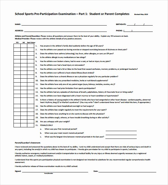 Employment Physical form Template Best Of Physical Exam Template